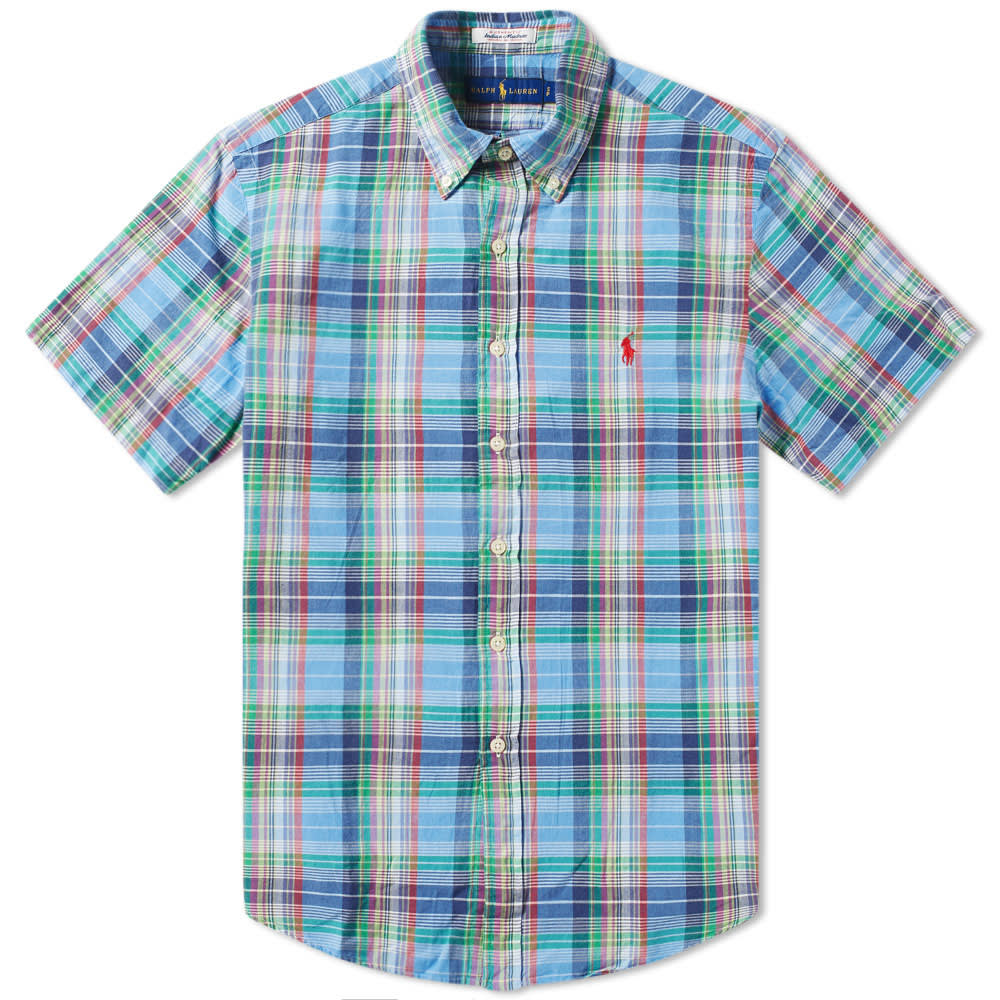 Ralph Short Down Button Check Shirt Polo Lauren Madras Sleeve DYeH9WE2I