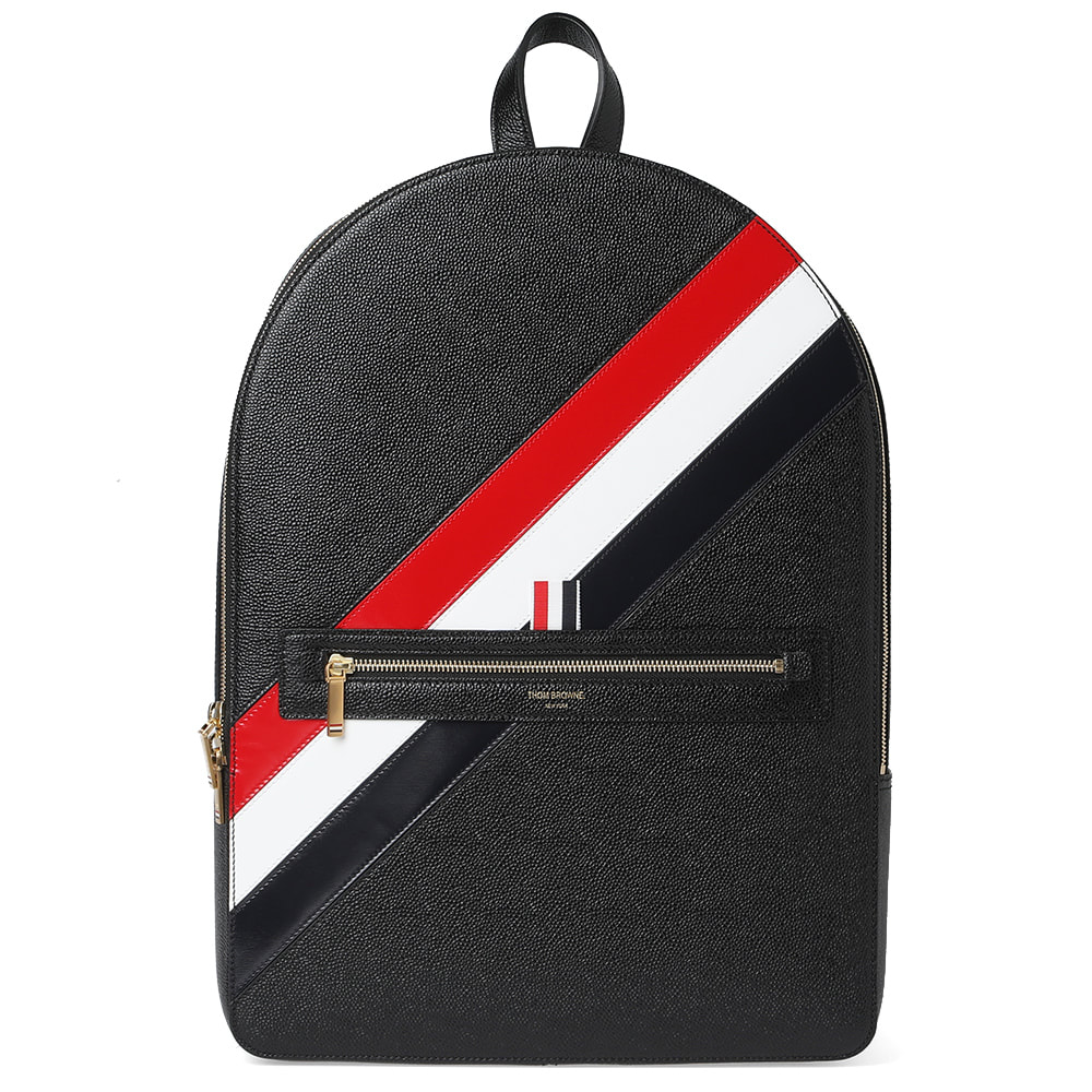 1cf093ed5ab3 Thom Browne Diagonal Stripe Leather Backpack Black | END.