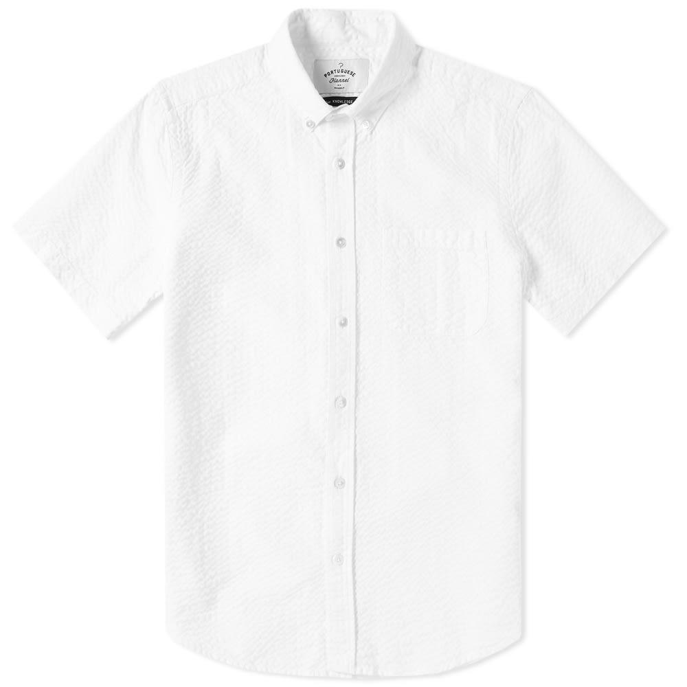 PORTUGUESE FLANNEL Portuguese Flannel Short Sleeve Atlantico Seersucker Shirt in White