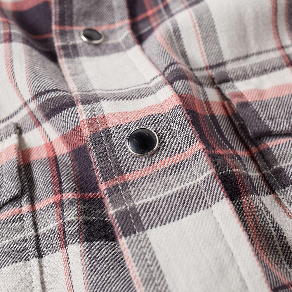 Saint Laurent Plaid Cotton Blend Flannel Western Shirt