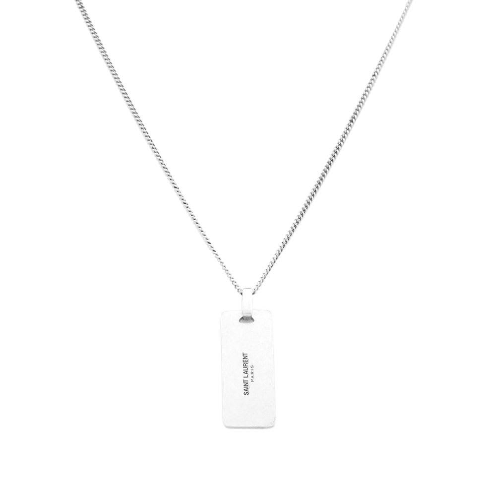 3ac3b94015f Saint Laurent YSL Plaque Pendant Necklace Silver | END.