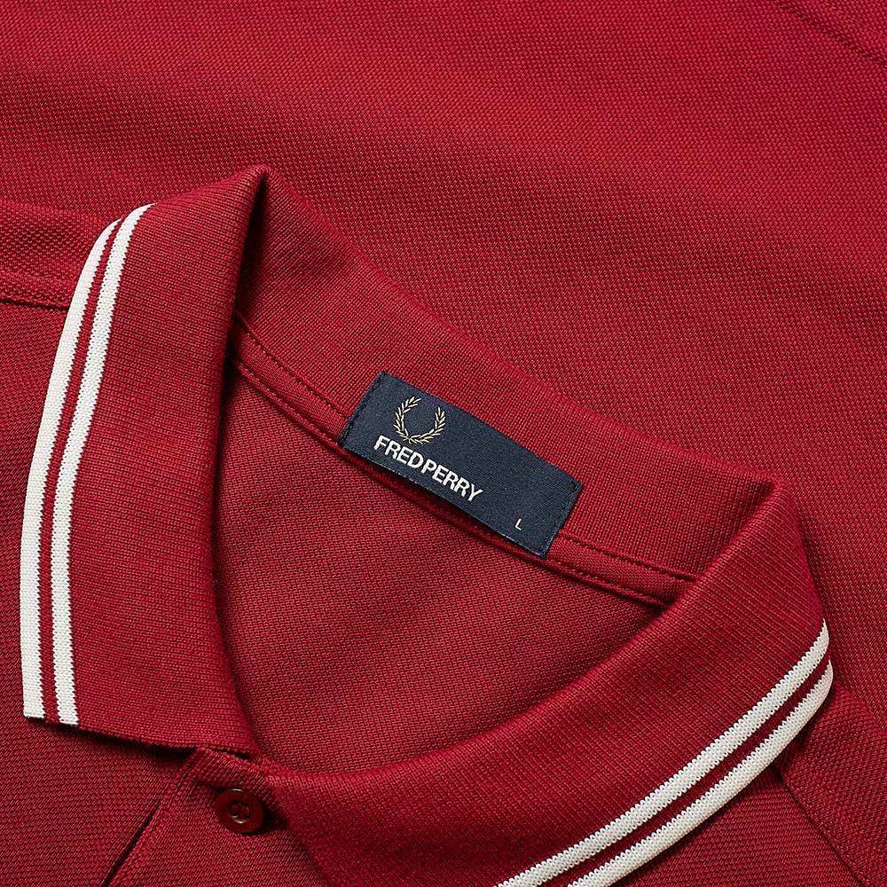 0a27190e Fred Perry Slim Fit Twin Tipped Polo Claret & Snow White | END.