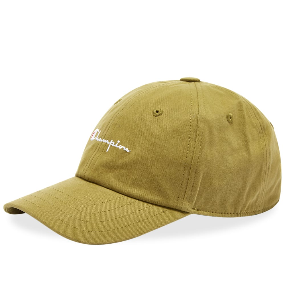 brand new great quality official store Champion Reverse Weave Script Logo Cap Olive Drab | END.