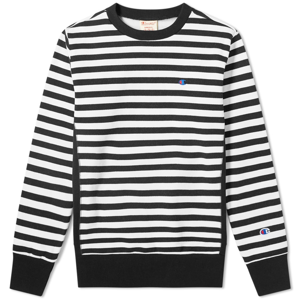 d302a4f2 Champion Reverse Weave Stripe Crew Sweat Black & White | END.