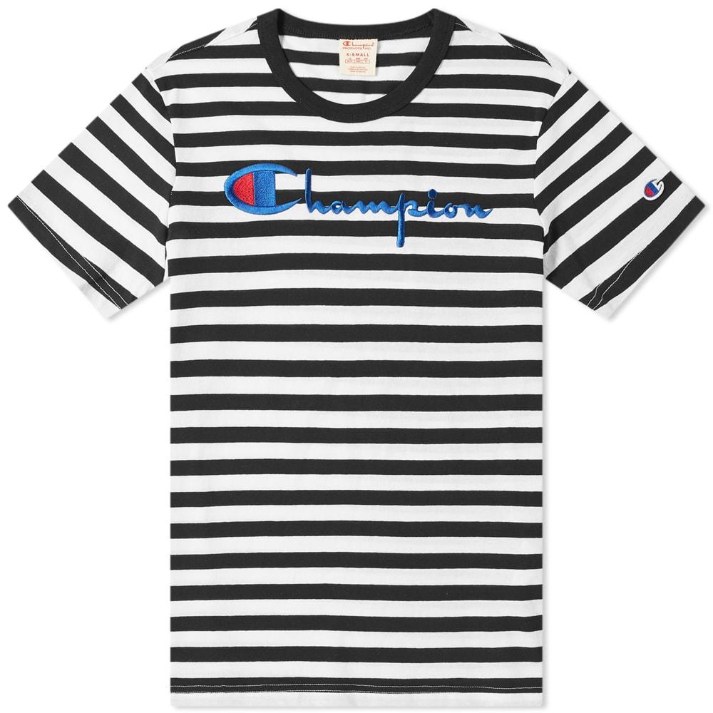5b5ece59e Champion Reverse Weave Stripe Script Logo Tee Black & White | END.