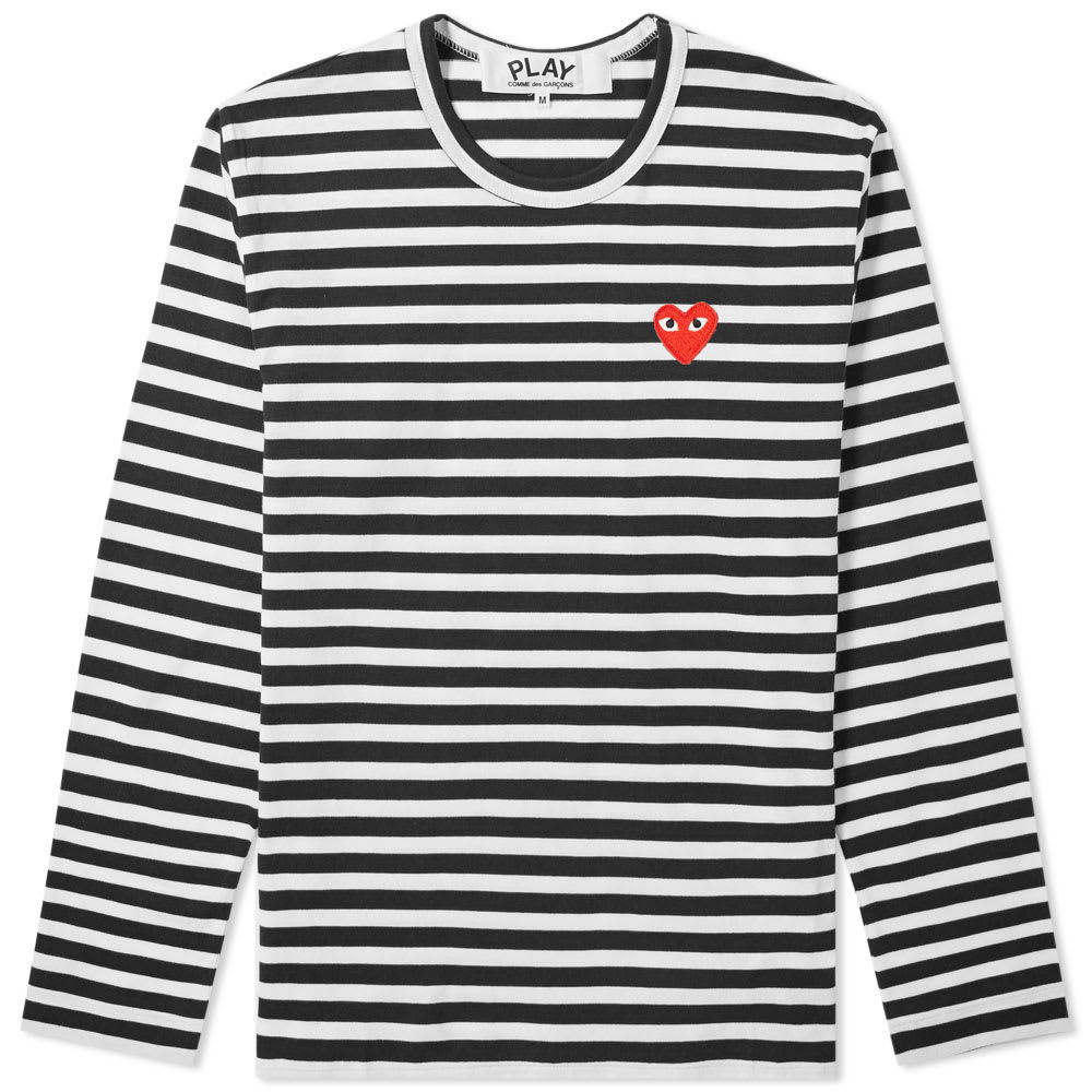 aaf580d4 Comme des Garcons Play Long Sleeve Heart Logo Stripe Tee Black ...