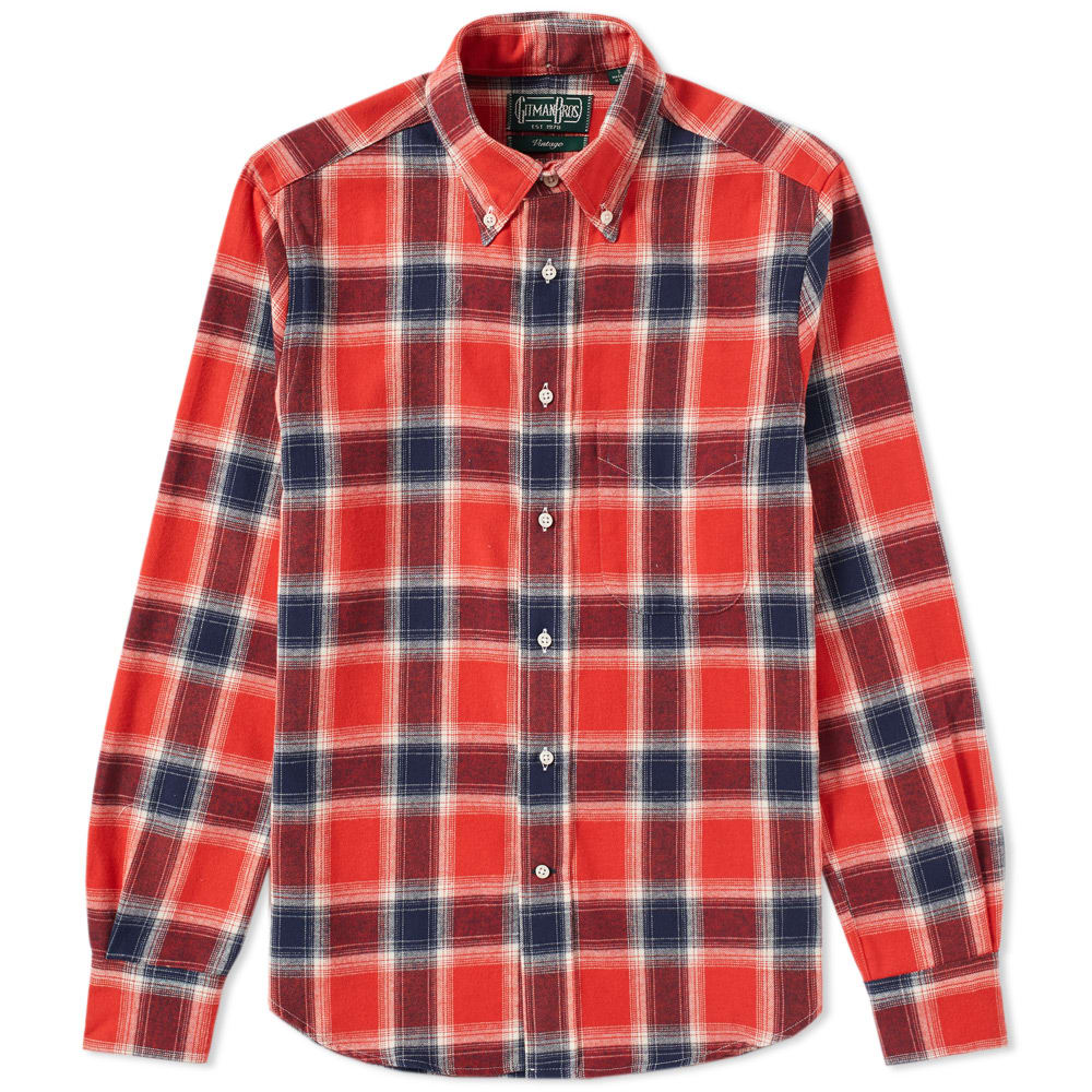 GITMAN VINTAGE TWILL PLAID SHIRT