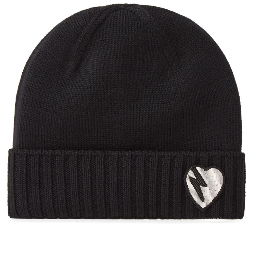 e004a0487a0 Saint Laurent Heart Knit Beanie Black   White