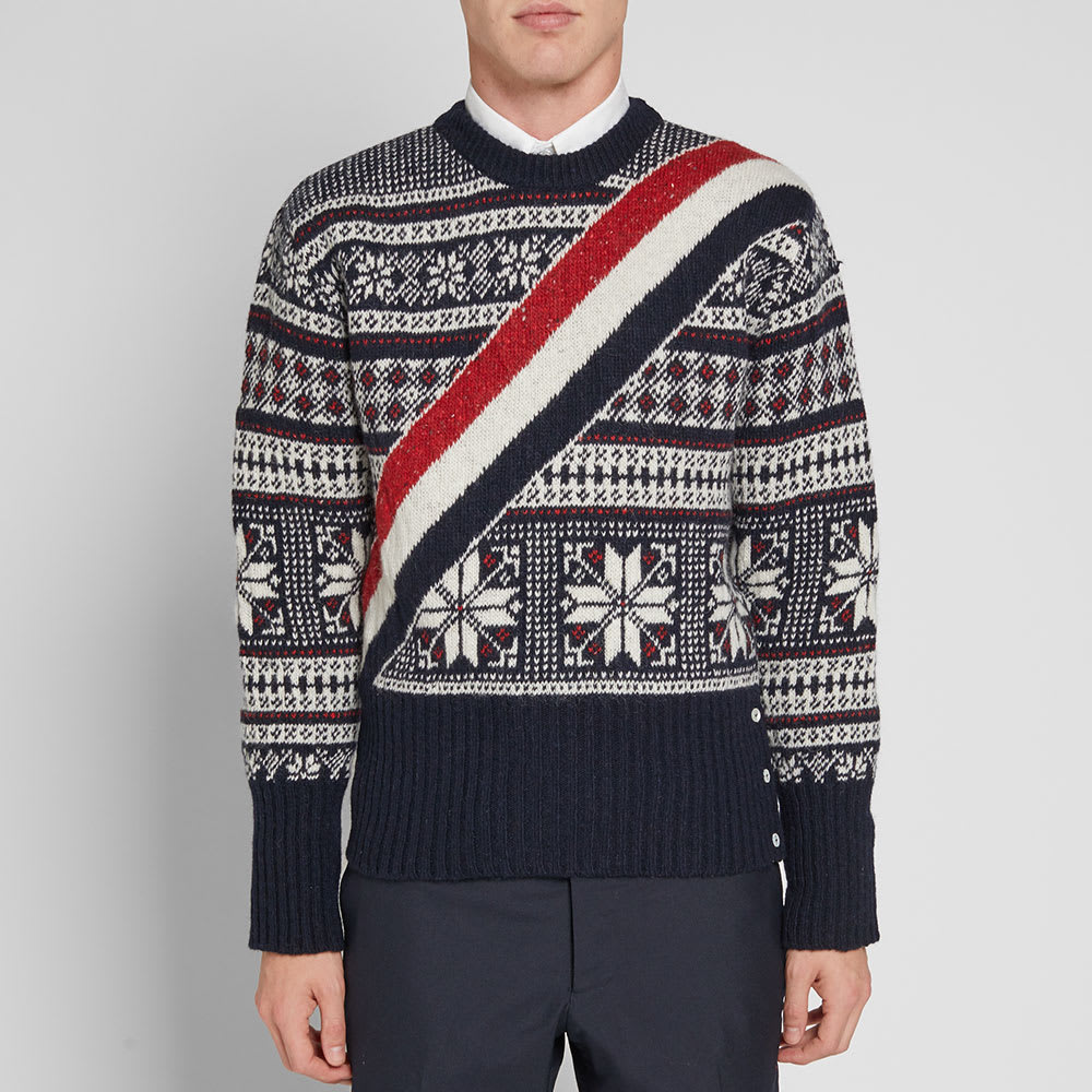 Thom Wool Isle Mohair Sweater And Navy Blend Striped Browne Fair qFpqr