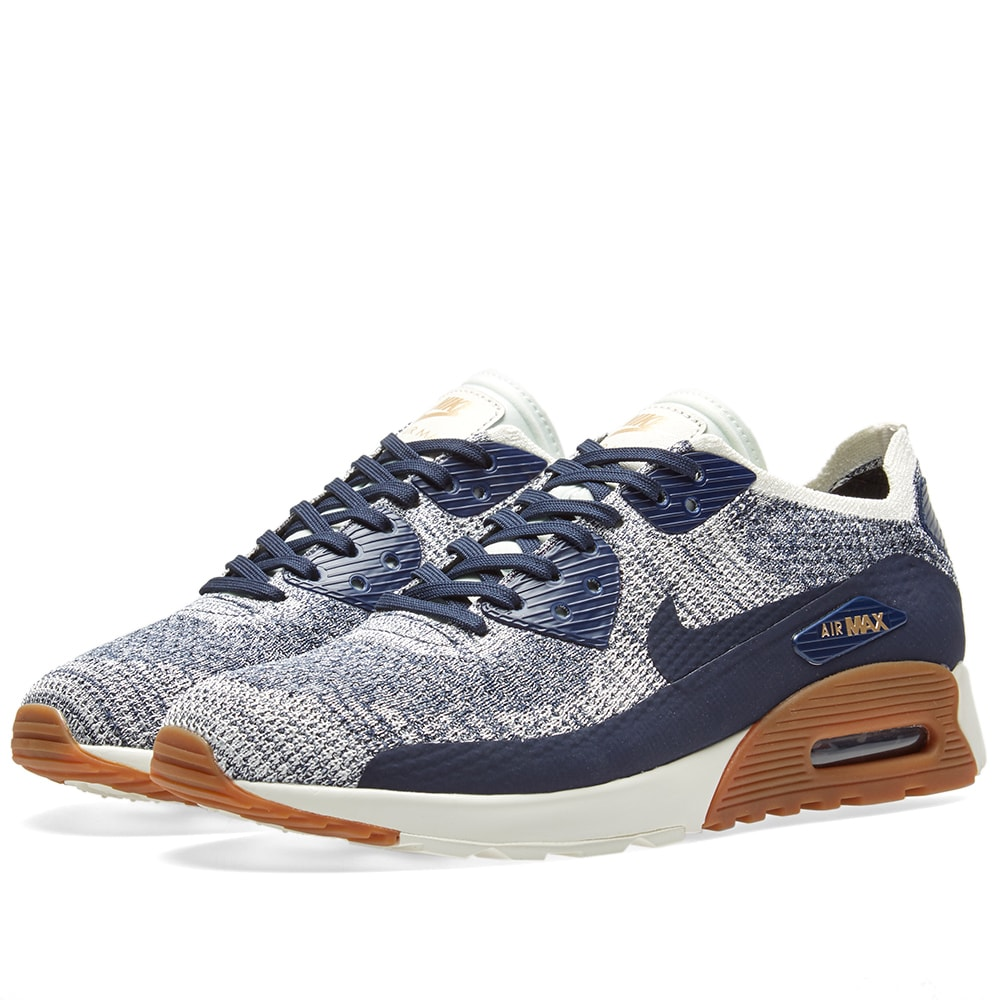 Nike W Air Max 90 Ultra 2.0 Flyknit College Navy Gum Med Brown 881109 400