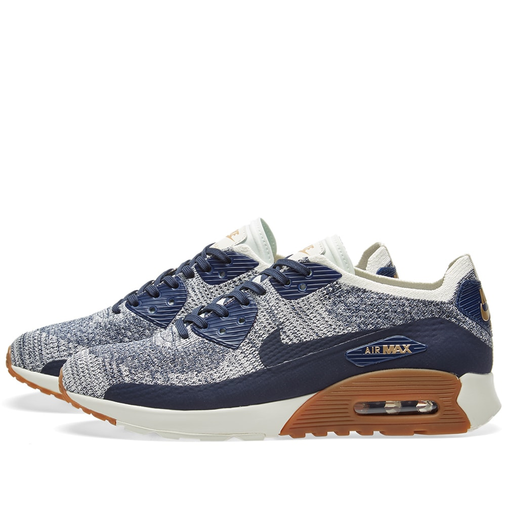 uk availability 57d8f b6a5b Nike Air Max 90 Ultra 2.0 Flyknit W College Navy, Gum   Brown   END.