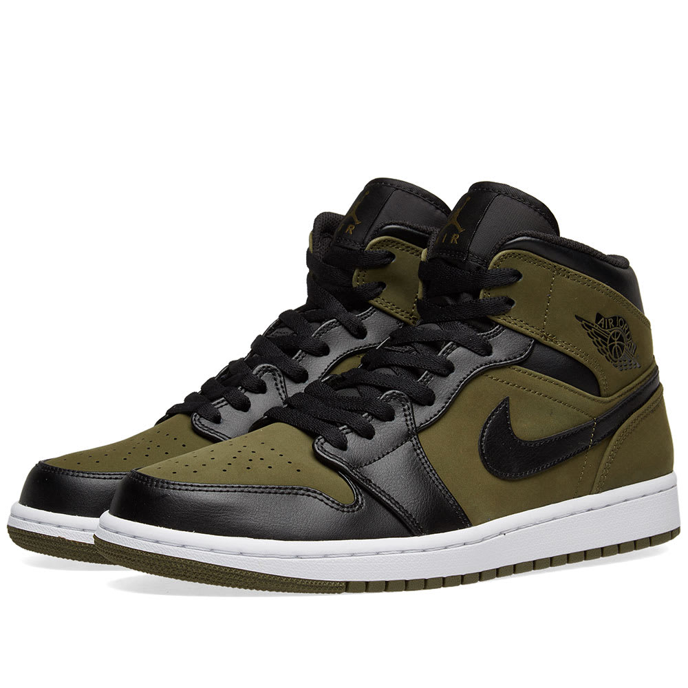 Nike Men S Air Jordan 1 Mid Retro Basketball Shoes Green Modesens