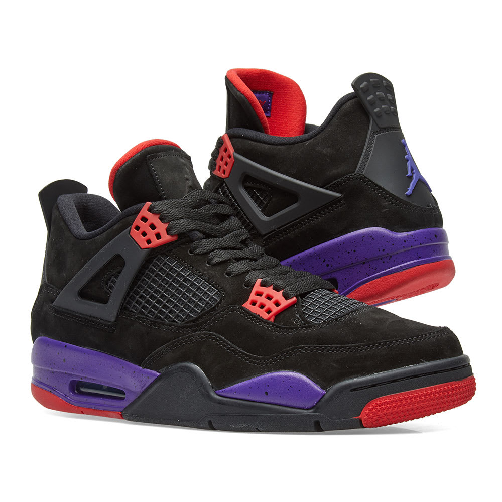 buy online fac84 93b24 Air Jordan 4 Retro Raptors. Black, Silver, Red   Purple