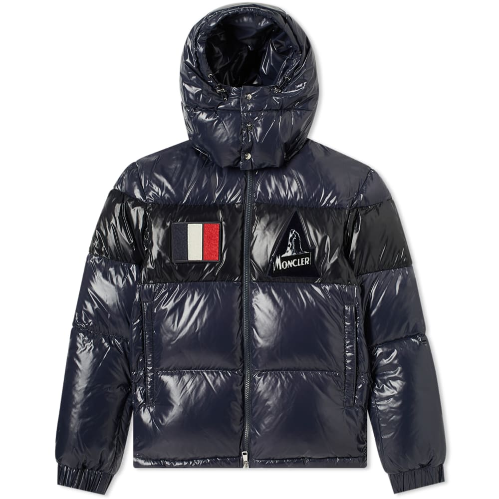 Moncler Gary Patch Text Hooded Down Jacket