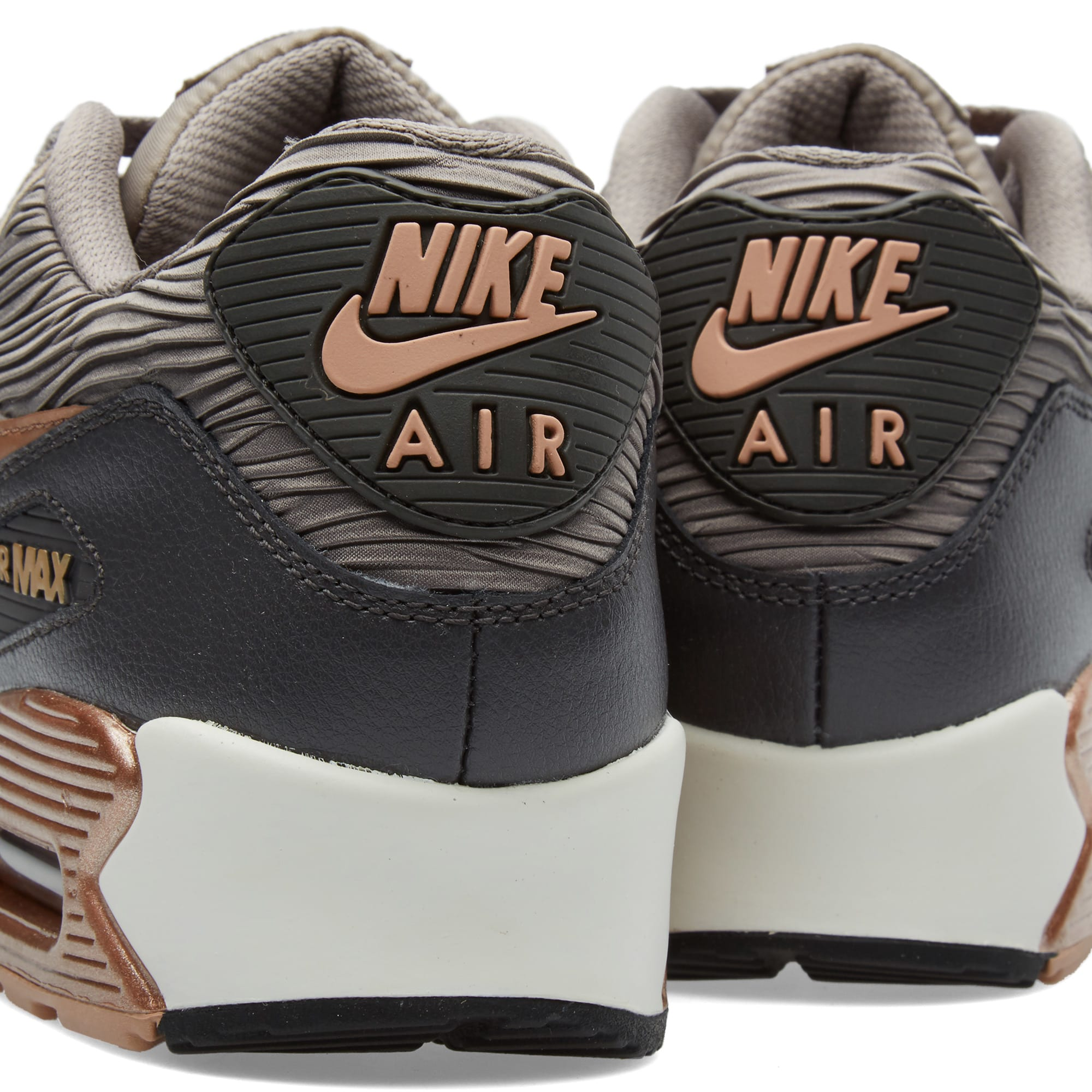 Nike Shoes Wmns Air Max 90 Leather Grey IronBronze Orange
