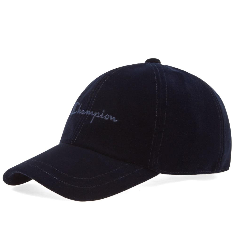 c1d24b57f4fda Champion Reverse Weave Script Logo Velour Baseball Cap Navy