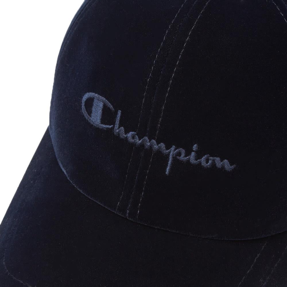c8897af0178c0 Champion Reverse Weave Script Logo Velour Baseball Cap Navy