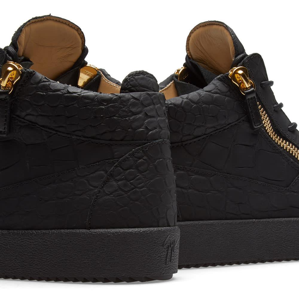 45402a21e6d7c Giuseppe Zanotti Leather Croc Double Zip Mid Sneaker Gold & Black | END.