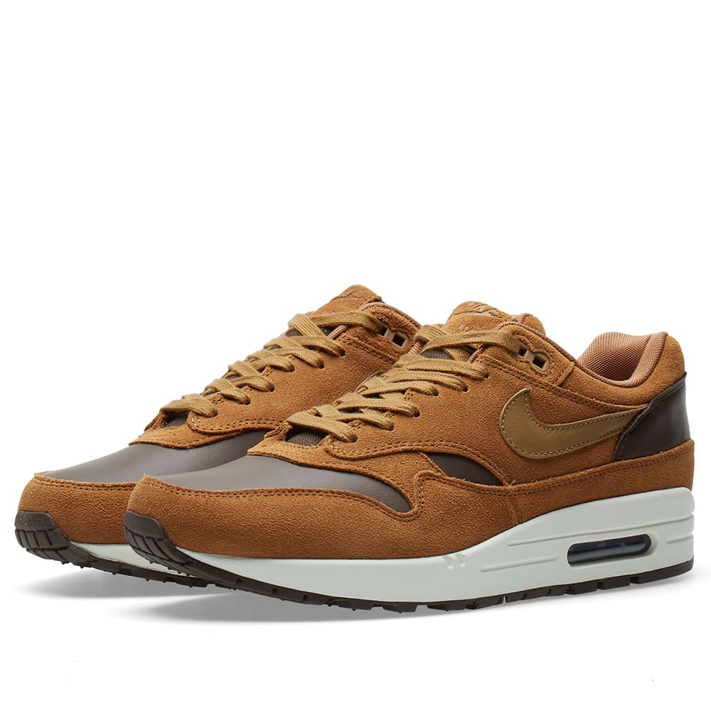 the latest c2f34 dd986 Nike Air Max 1 Leather Premium Baroque Brown   Golden Beige   END.
