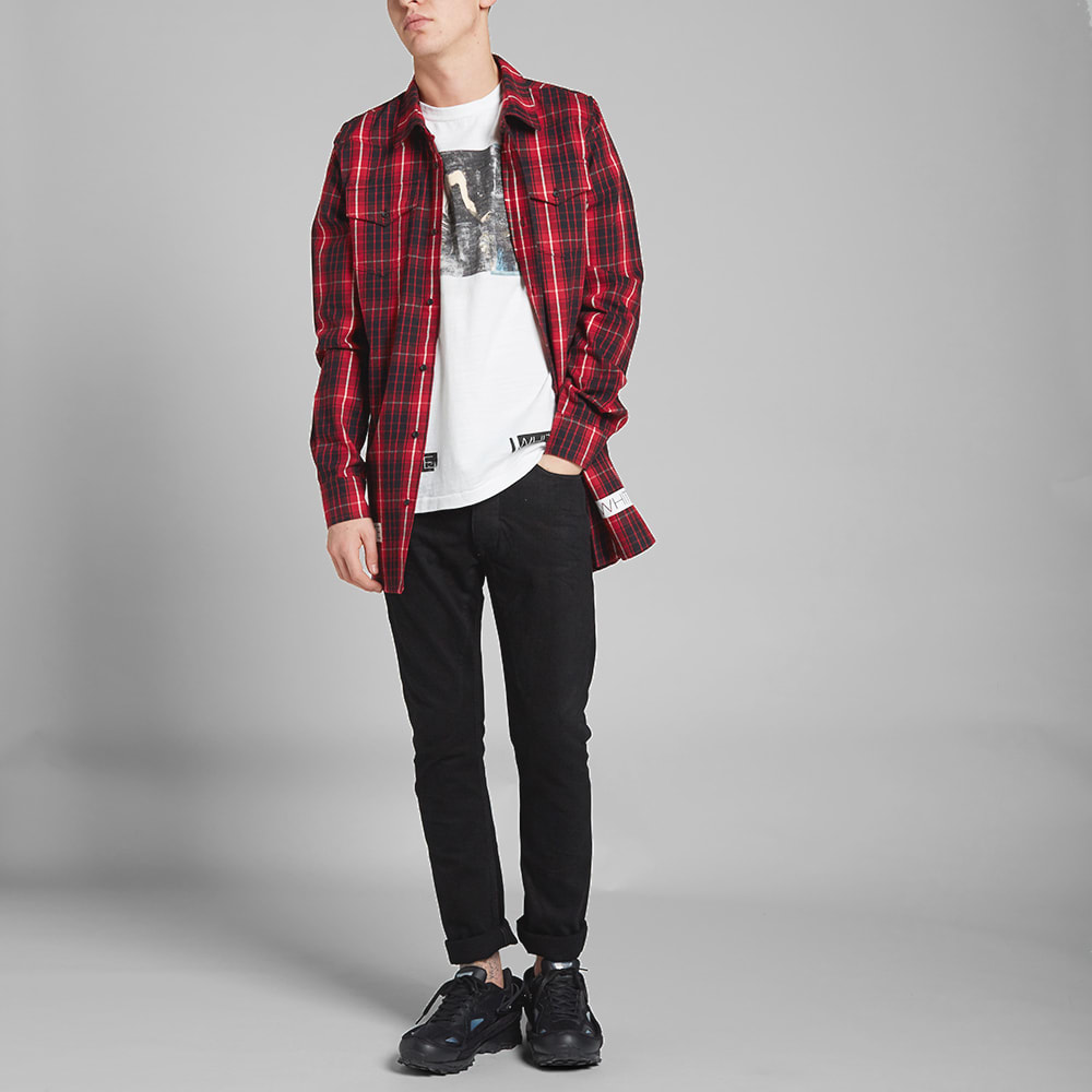 Off white checked flannel shirt red black for Red black and white flannel shirt
