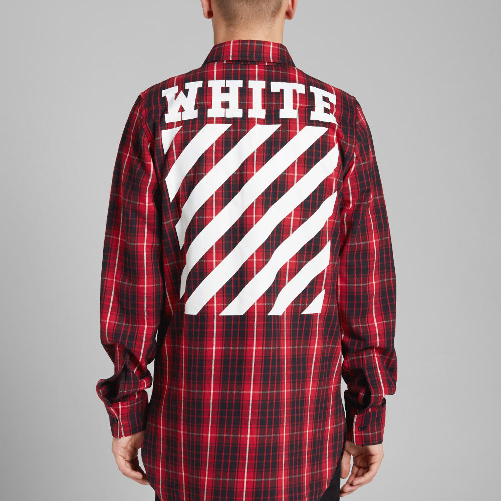 8f3b97888c56 Off-White Checked Flannel Shirt Red   Black
