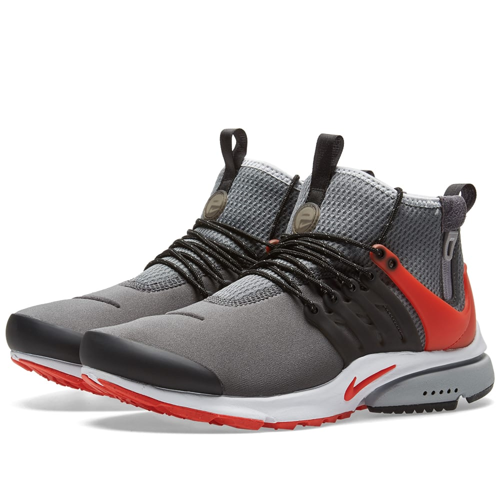 Nike Air Presto Utility Mid Mens Trainers Grey/Red Image
