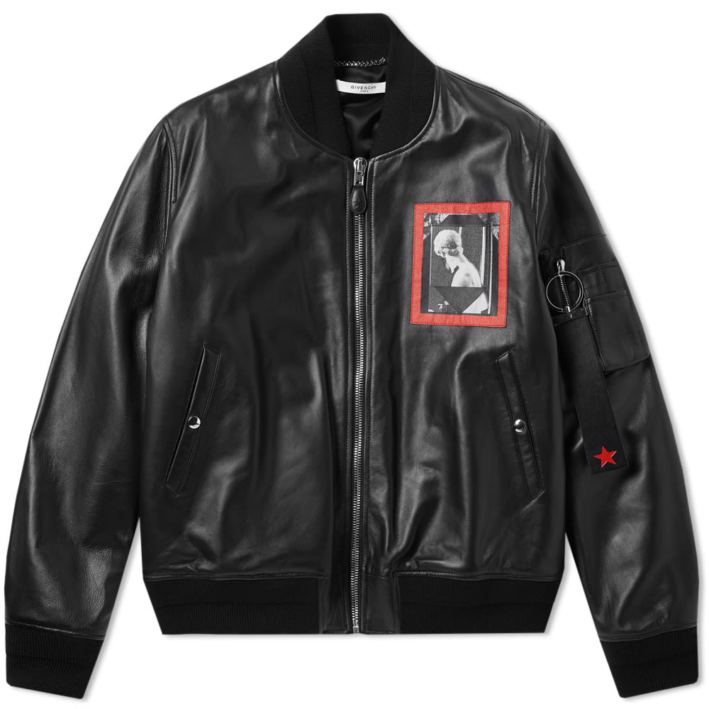 Givenchy Romantic Patch Leather Ma1 Jacket, Black