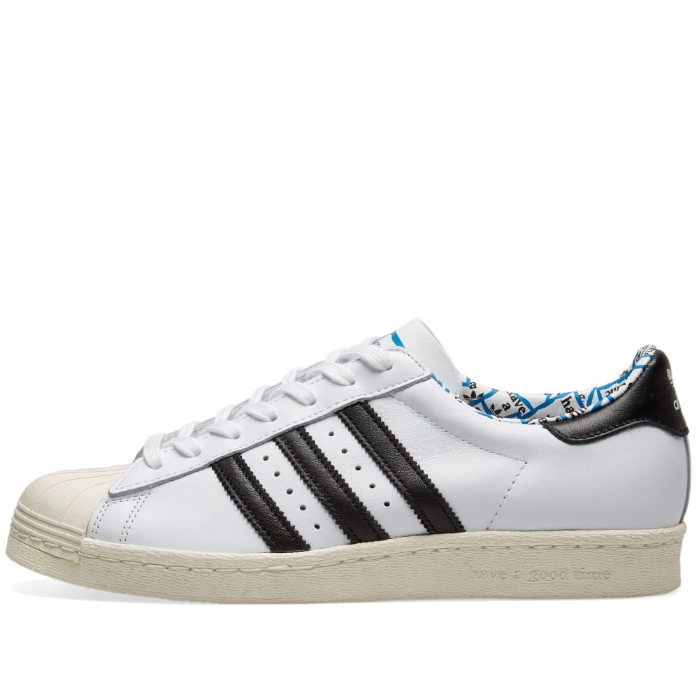 Adidas Superstar 80s (Core Black & Blue) End Clothing