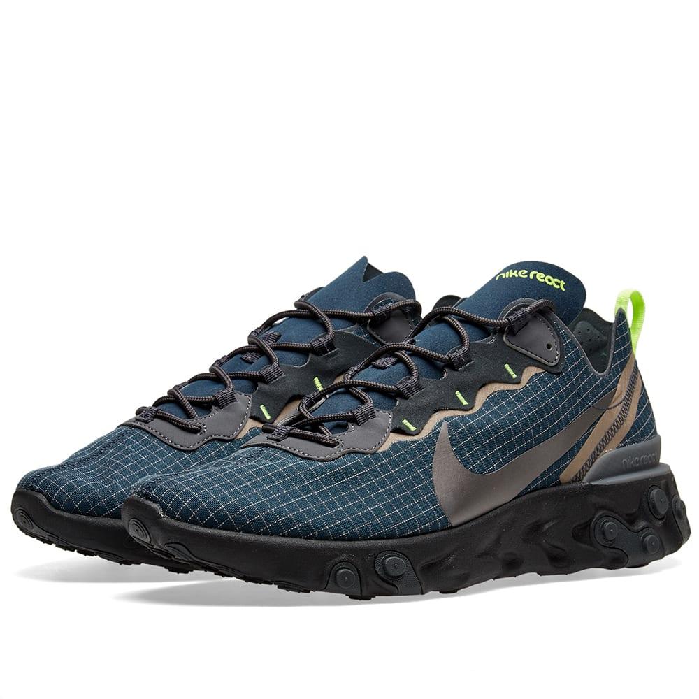 Icke gamla Nike React Element 55 'Ripstop' Navy, Black & Volt | END. WP-26