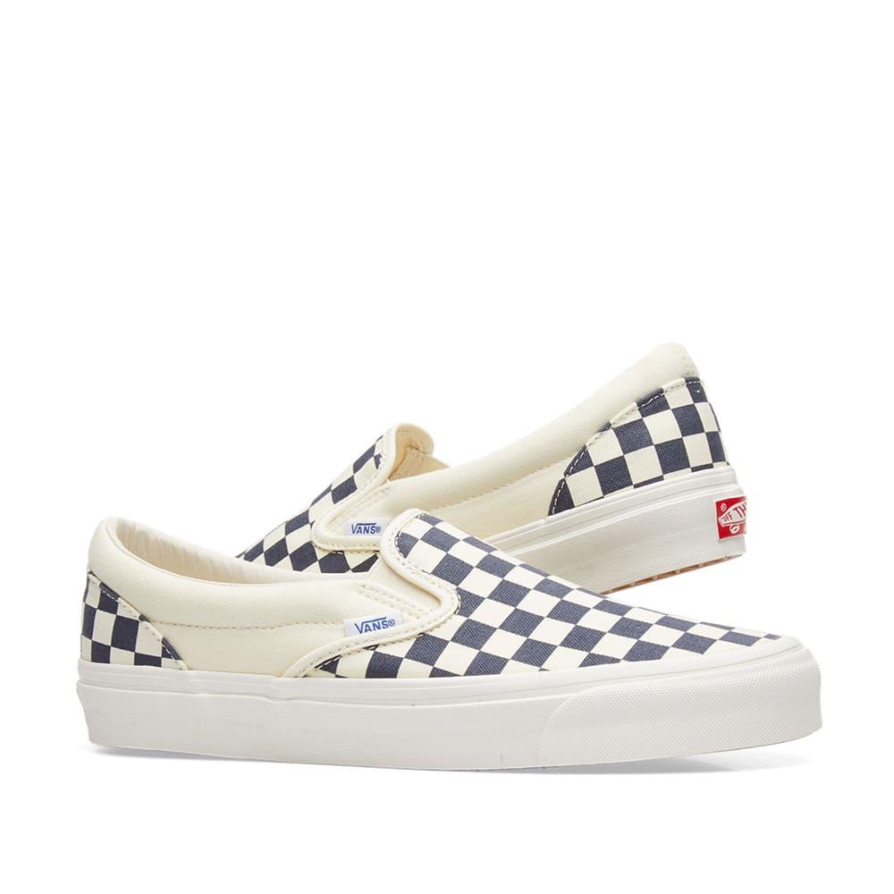 2318f0513ba5 Vans Vault OG Classic Slip On LX White   Navy Checkerboard