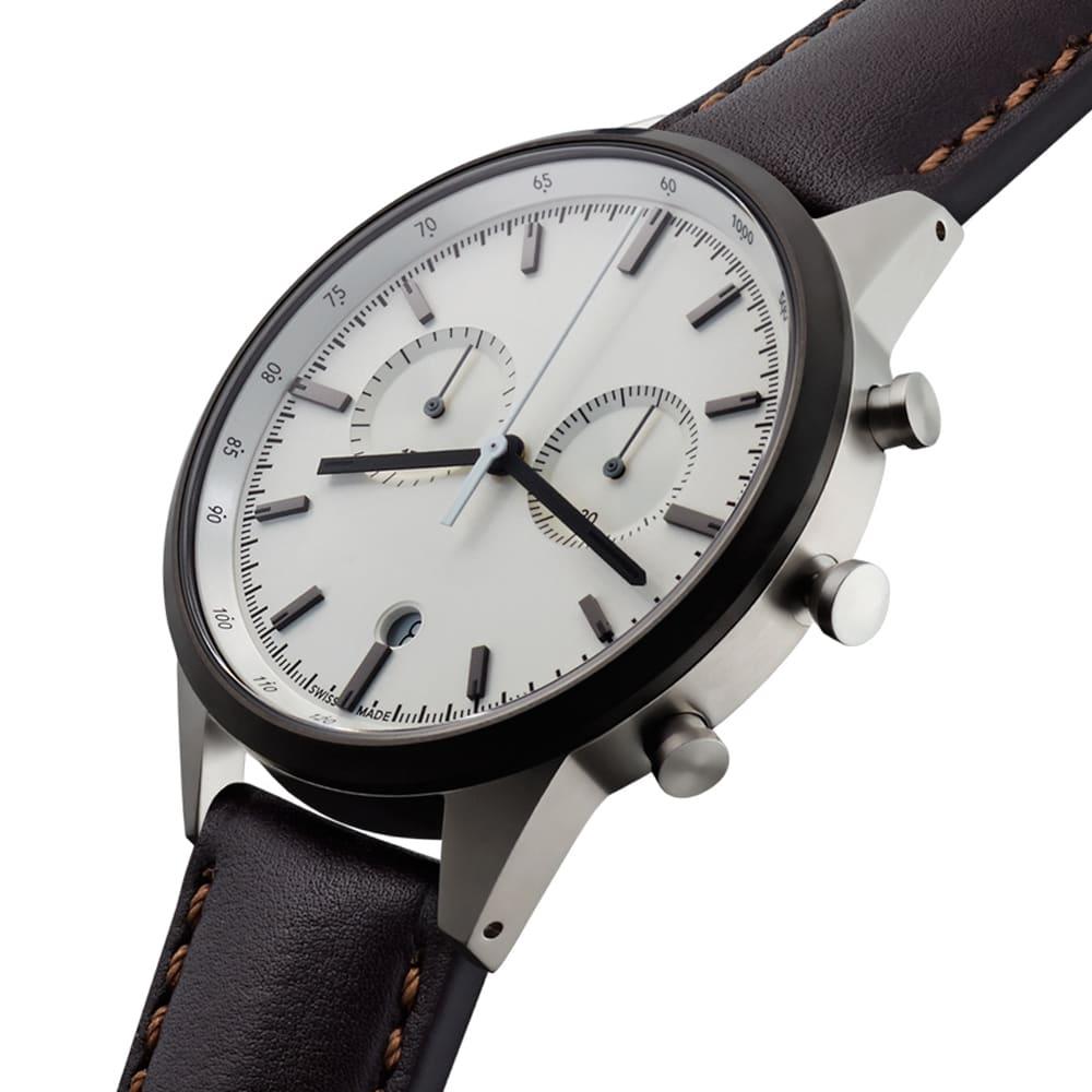 4f4ab75cc Uniform Wares C41 Chronograph Wristwatch PVD Grey & Brown Leather   END.