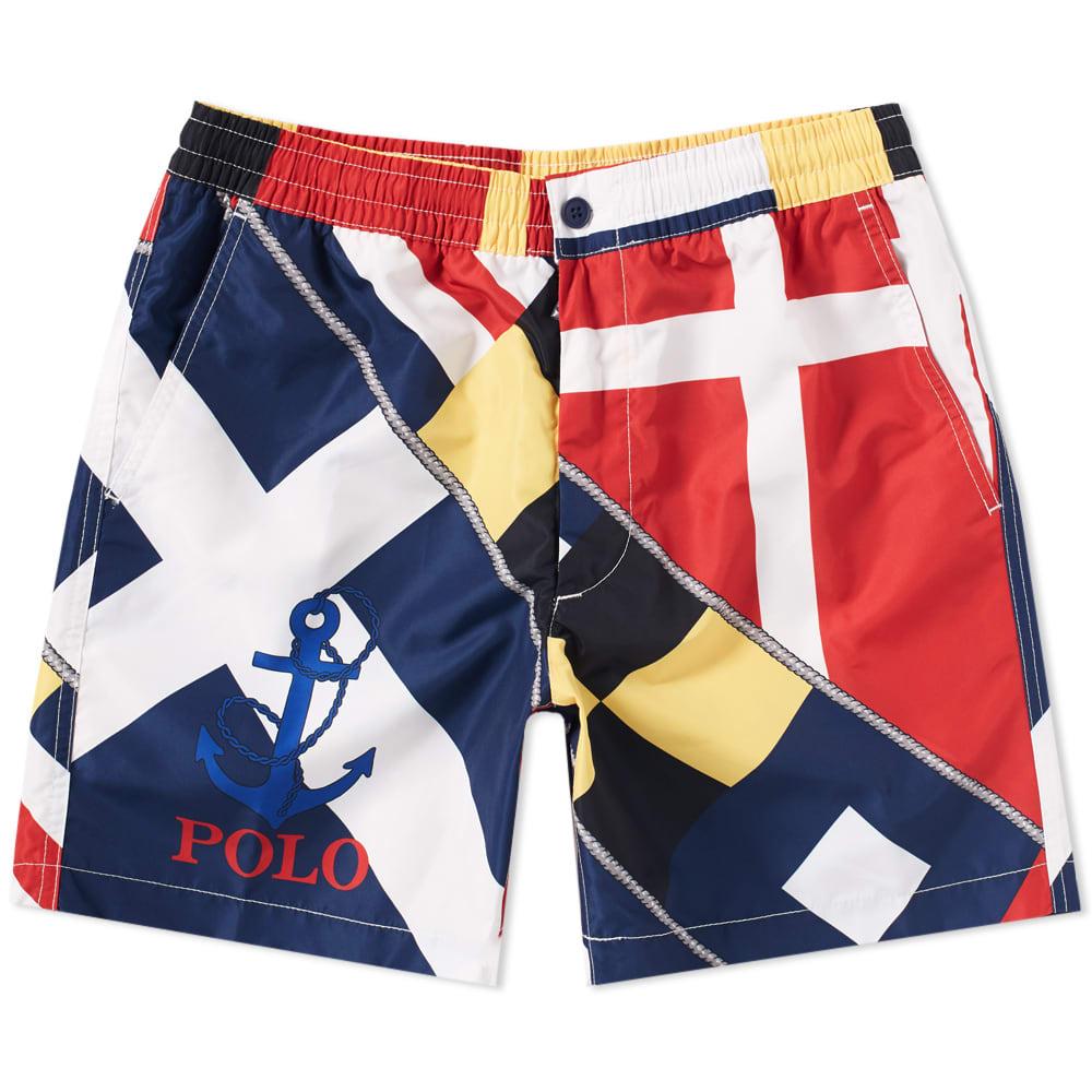 f3a08db0a1 Polo Ralph Lauren CP93 Sailing Flag Print Swim Short Flag Print | END.