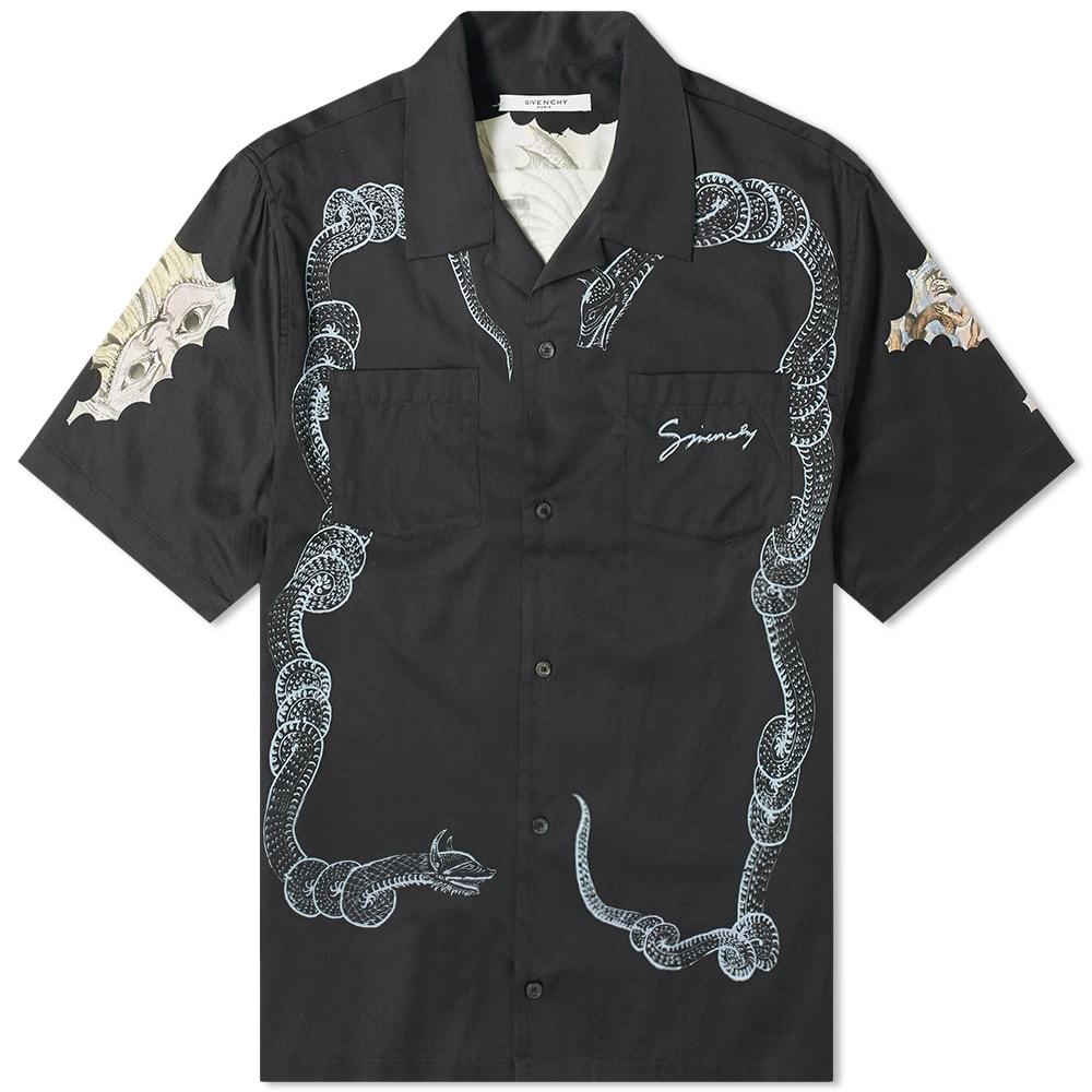 GIVENCHY | Givenchy Snake & Icarus Hawaiian Shirt Black | Goxip