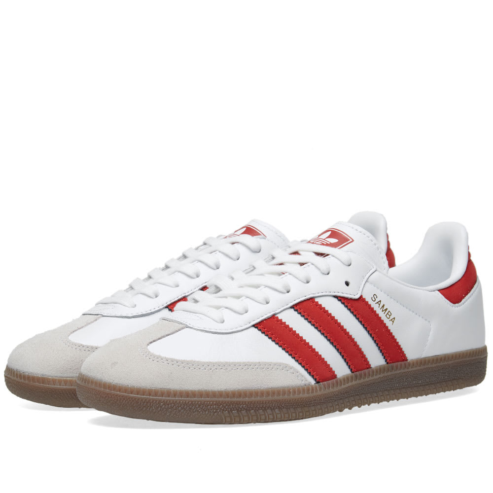 emparedado aparato competencia  Adidas Samba OG White & Scarlet   END.