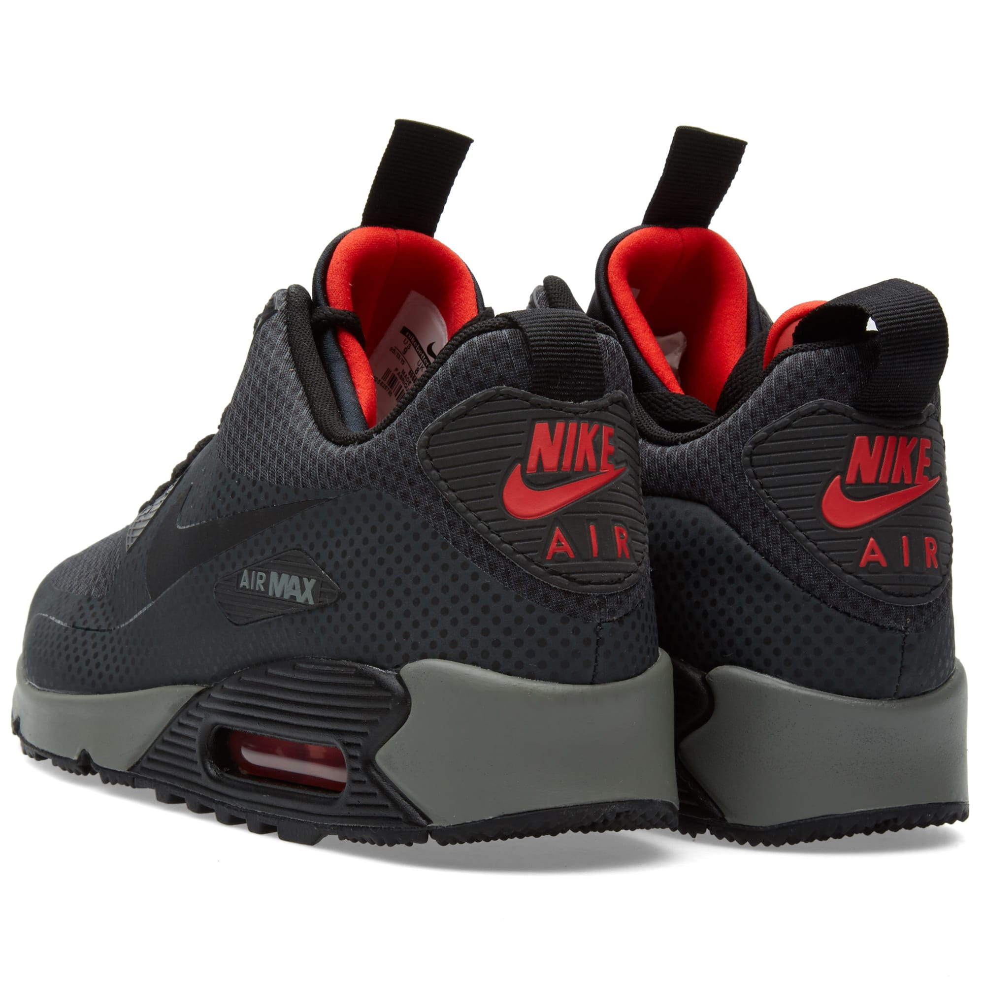 Nike Air Max 90 Mid Winter Print SZ 6.5 Anthracite Black Chilling Red 806850 006