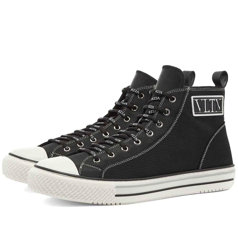 Valentino Valentino VLTN Logo Patch Canvas Hi Top Sneaker
