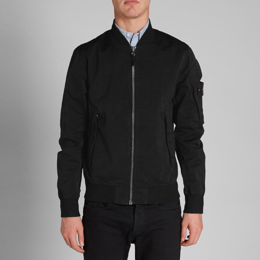 Stone Island David Jersey-TC Bomber Jacket (Black)