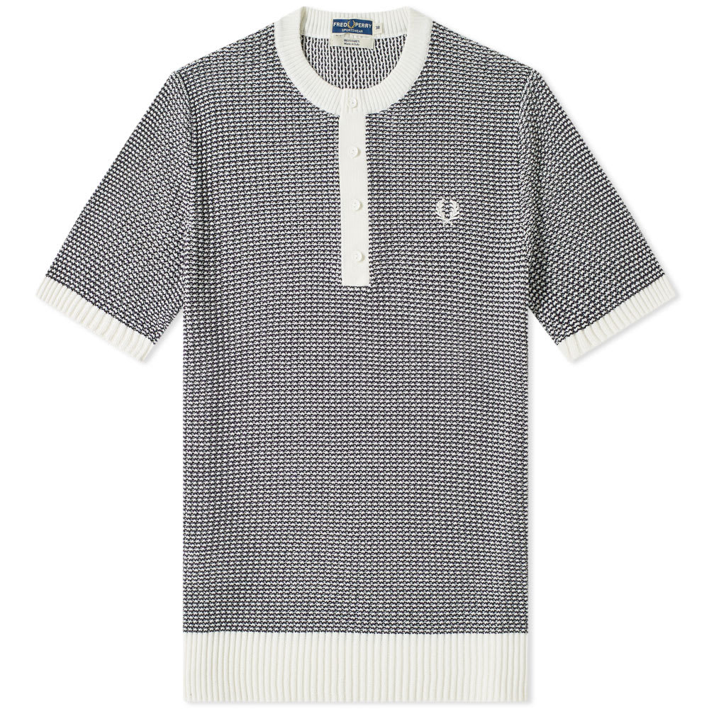 616eaae0aa4 Fred Perry Reissues Two Colour Knit Button Neck Snow White   Navy