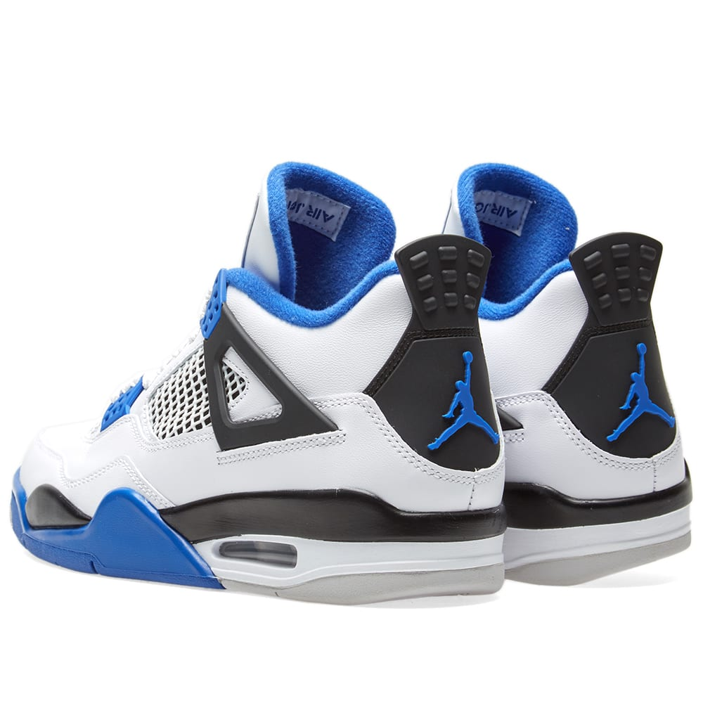 promo code 56b08 50964 Nike Air Jordan 4 Retro  Motorsport  White, Game Royal   Black   END.