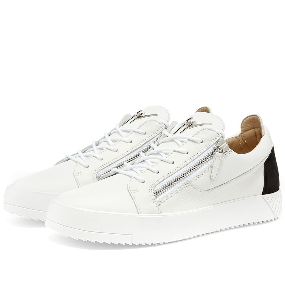 ad3d284608681 Giuseppe Zanotti 2 Tone Zip Low Sneaker White & Black   END.
