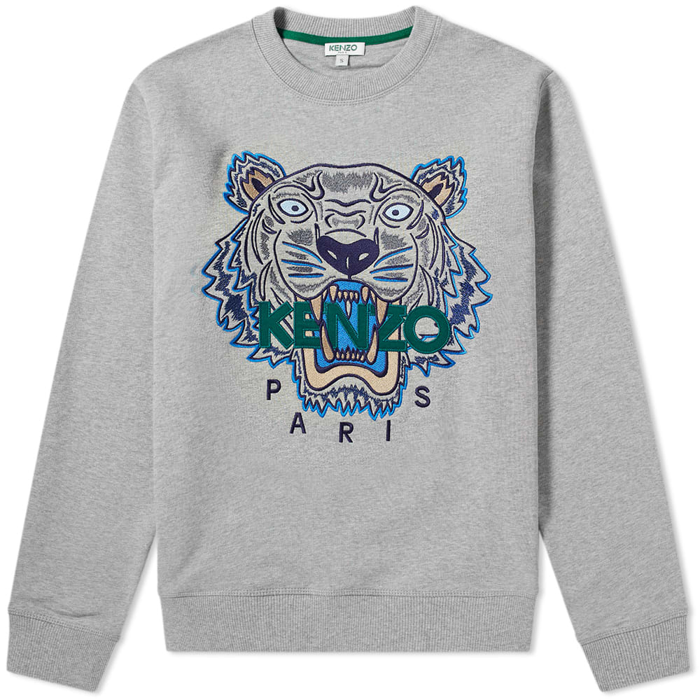 d7cc3d96 Kenzo Tiger Embroidered Crew Sweat Pearl Grey | END.