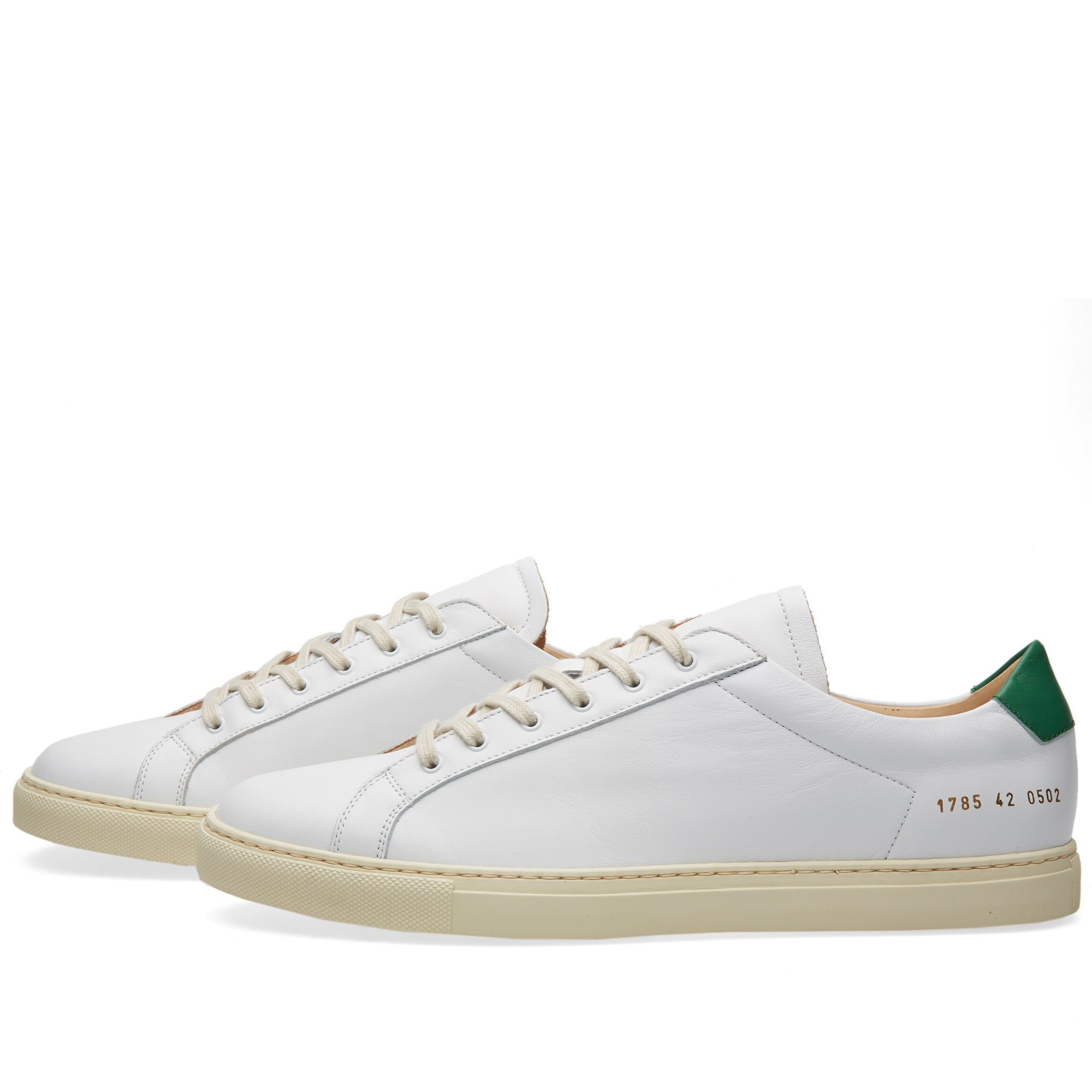 common projects achilles retro low white green. Black Bedroom Furniture Sets. Home Design Ideas