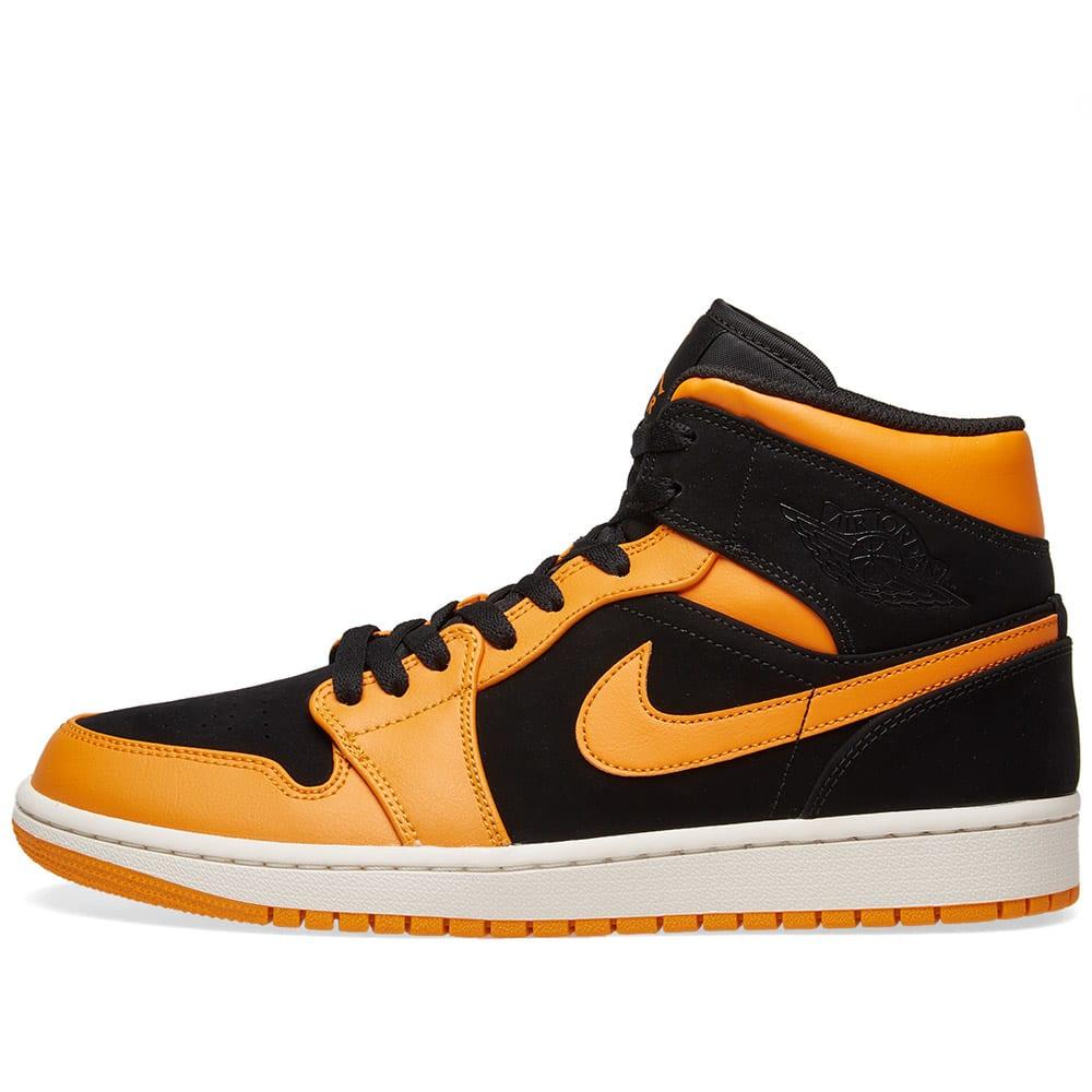 online store e75b9 843ae Air Jordan 1 Mid Black, Orange Peel   Sail   END.
