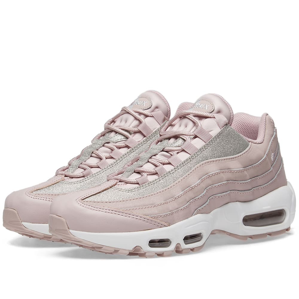 new products 75956 d448f Nike Air Max 95 Glittered Leather And Suede Sneakers In Pastel Pink