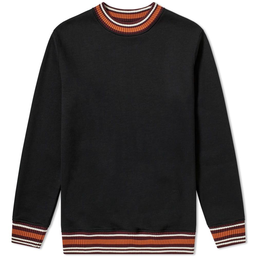 WOOD WOOD Nathan Sweatshirt With Striped Trims In Black - Black