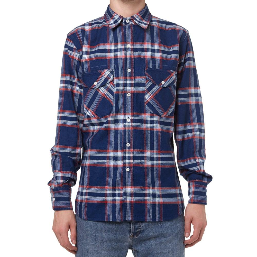 Filson cascade flannel shirt red white blue plaid for Red white and blue plaid shirt