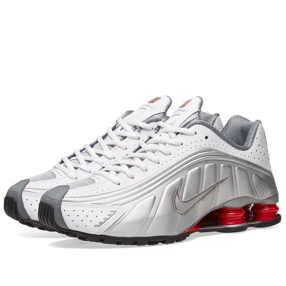 uk availability a06d2 6ff59 Nike Shox R4 White, Metallic Silver   Red   END.
