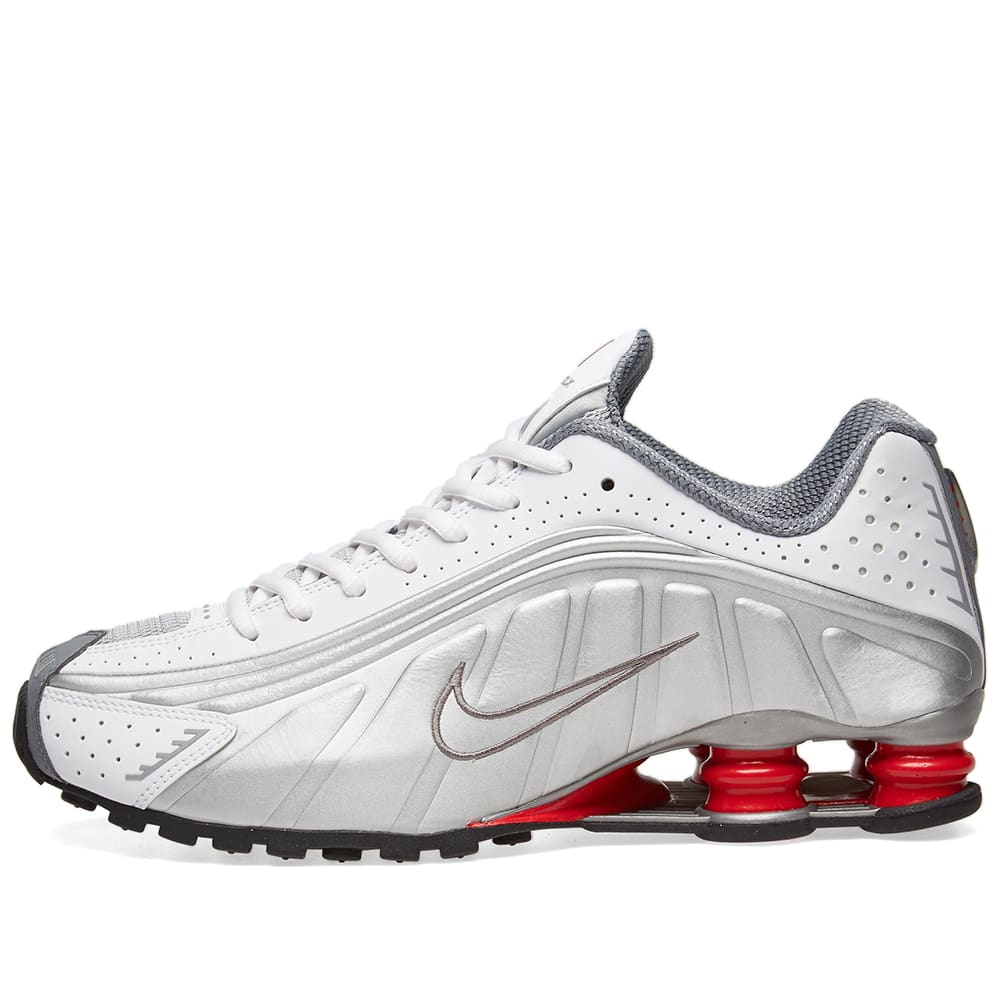 uk availability 0e89a a206f Nike Shox R4 White, Metallic Silver   Red   END.