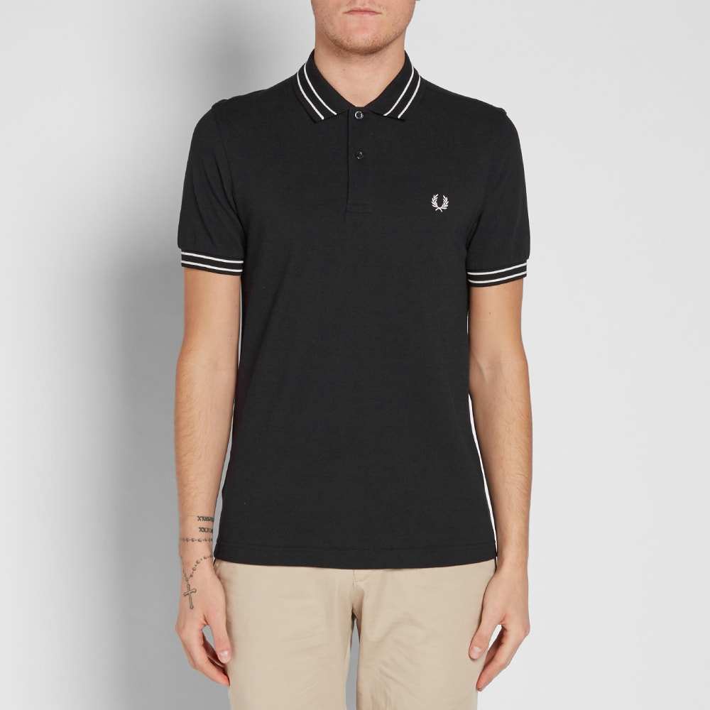 fred perry tramline tipped polo black. Black Bedroom Furniture Sets. Home Design Ideas