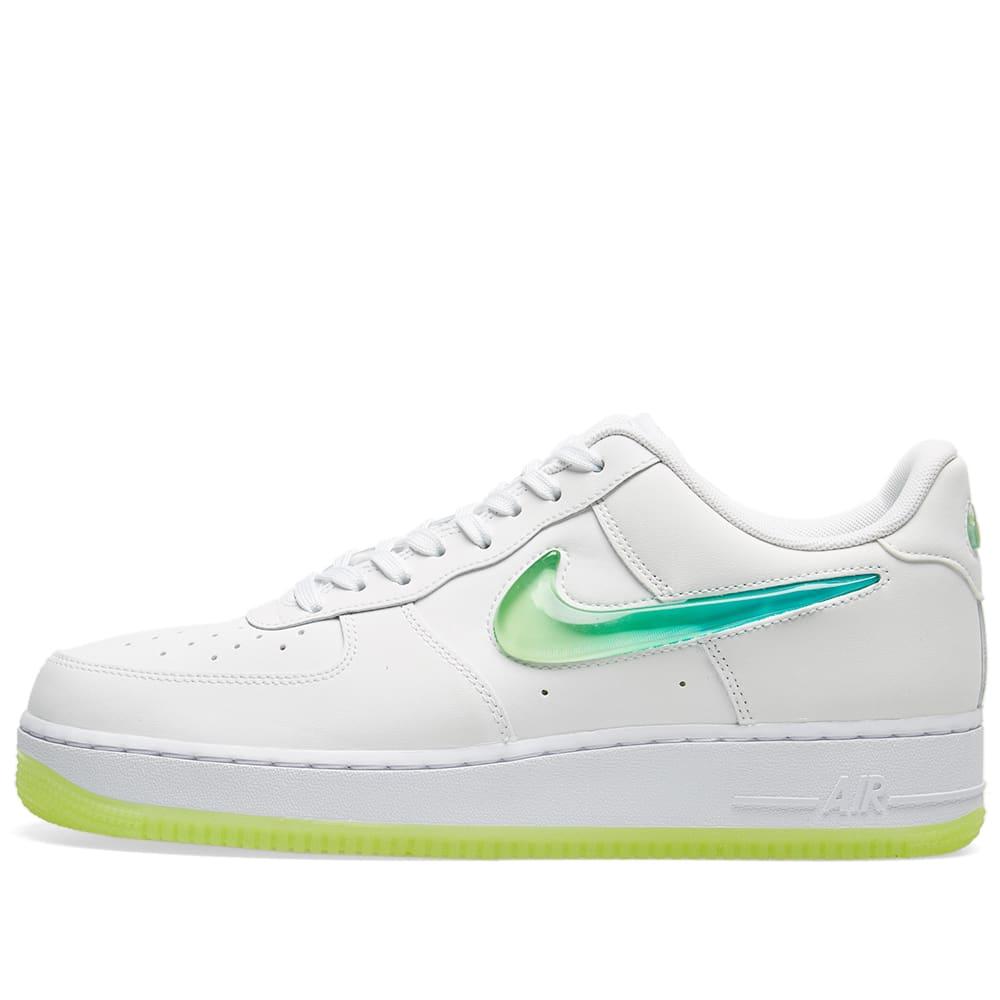 half off 88010 3b8b2 Nike Air Force 1  07 Premium 2  Jelly Swoosh  White, Volt   Jade   END.